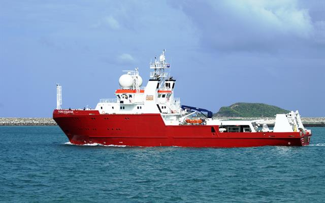 M/V Fugro Equator, during sea trials offshore Thailand.